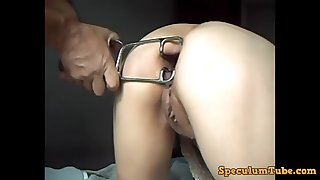 milf gets her ass stretched by speculum and fucked with huge dildo