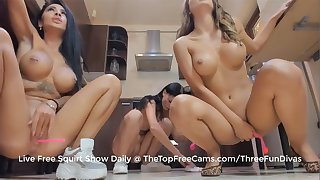 three hot pawg lesbians squirt all over the kitchen floor